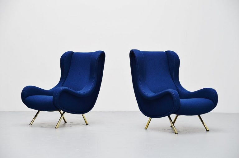 Marco Zanuso Senior lounge chair pair Arflex 1951