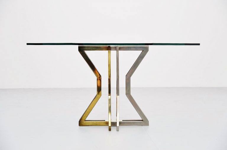 Romeo Rega dining table chrome and brass Italy 1970