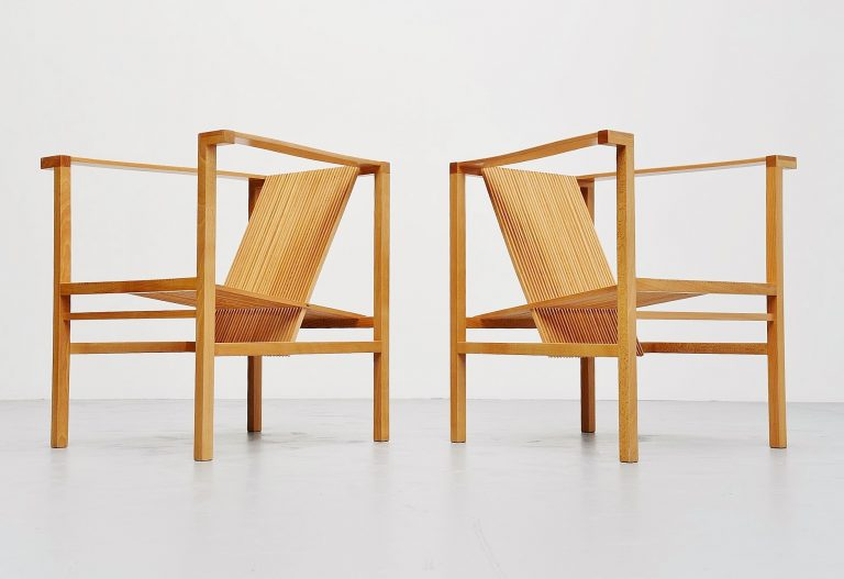 Ruud Jan Kokke high slat chairs pair Metaform 1984