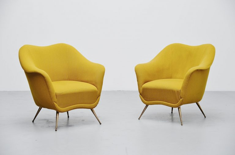 Italian club chairs pair by Isa Bergamo Italy 1950