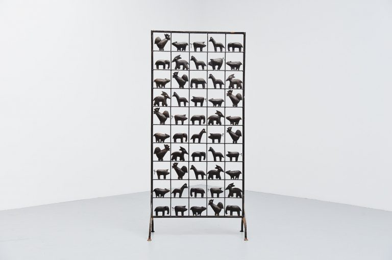Atelier Marolles animal screen wrought iron France 1955