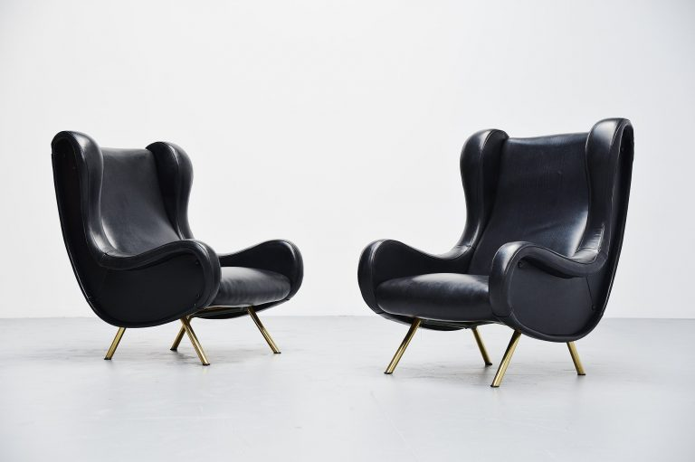 Marco Zanuso senior lounge chairs Arflex Italy 1951