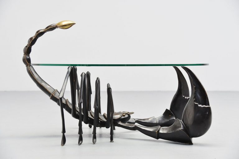 Jacques Duval Brasseur scorpion coffee table bronze France 1970