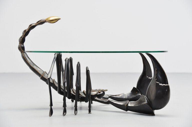 Jacques Duval Brasseur scorpion coffee table bronze France 1970
