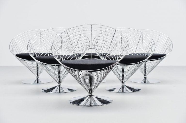 Verner Panton wire cone chairs Fritz Hansen Denmark 1988