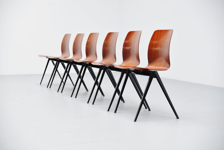 Pagholz stacking chairs red black Germany 1970