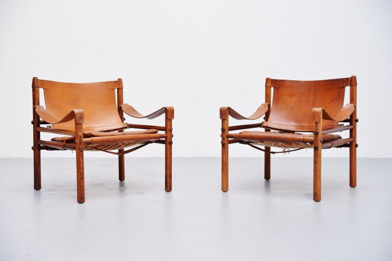 Arne Norell Sirocco chairs in cognac Sweden 1964