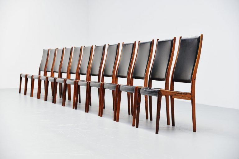 Johannes Andersen high back dining chairs Denmark 1960