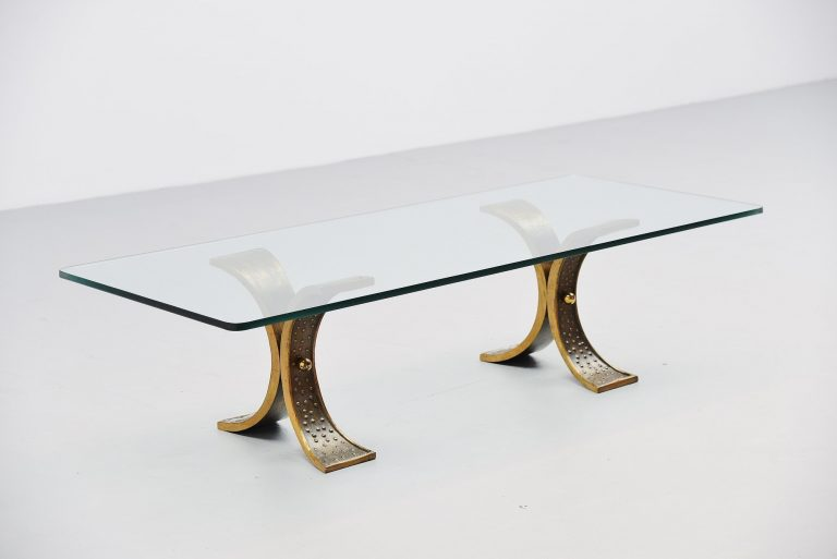 Bronze sculptural coffee table France 1970