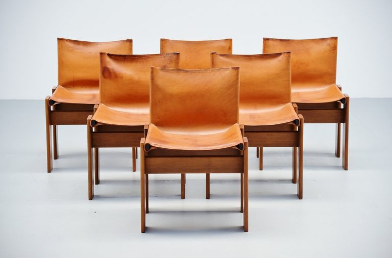 Afra and Tobia Scarpa Monk chairs Molteni Italy 1974