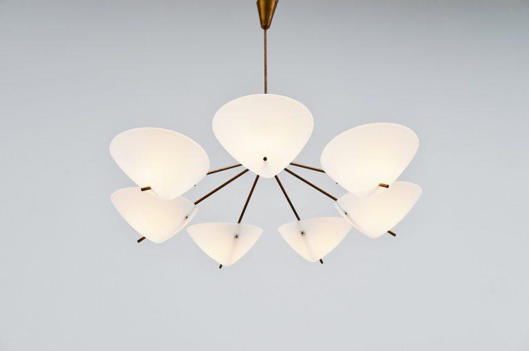 Large Italian chandelier plexiglass and brass Italy 1950