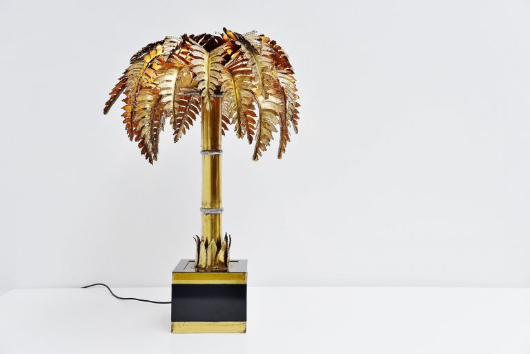 Maison Jansen palm tree table lamp France 1970