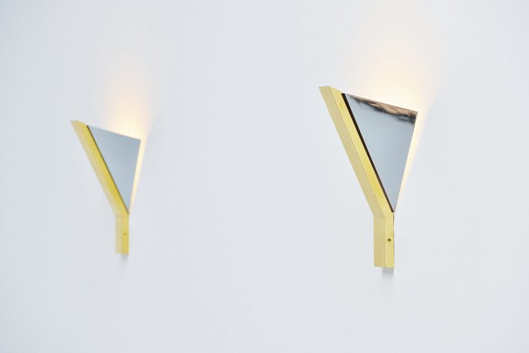Romeo Rega wall lamp chrome and brass Italy 1970