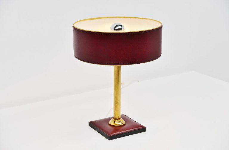 Jacques Adnet leather clad lamp in red France 1960
