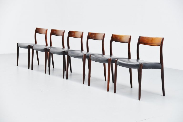 Niels Moller model 77 rosewood dining chairs Denmark 1959