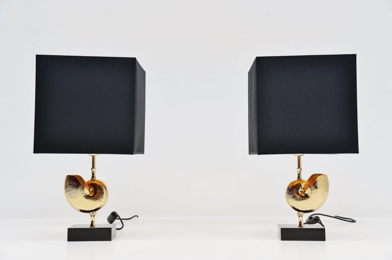 Maison Charles shell table lamp pair France 1970