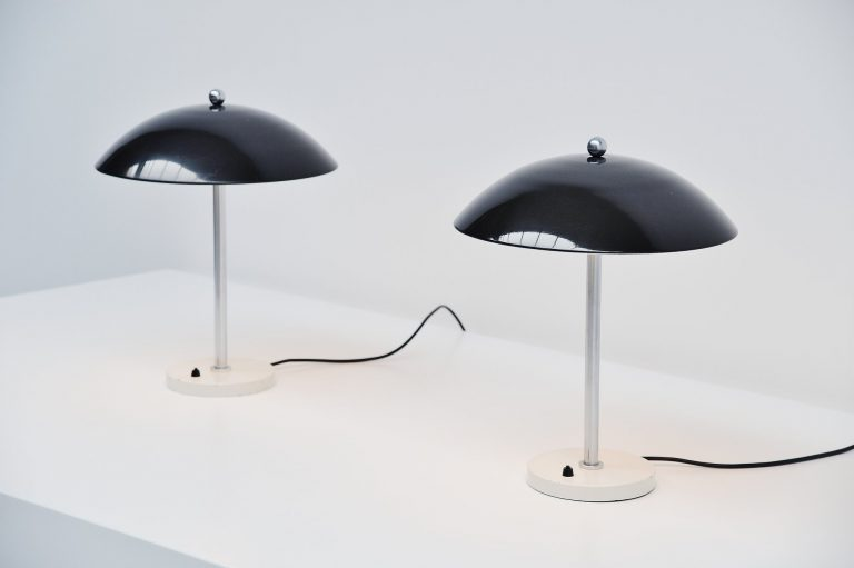 Wim Rietveld mushroom table lamp pair Gispen 1950