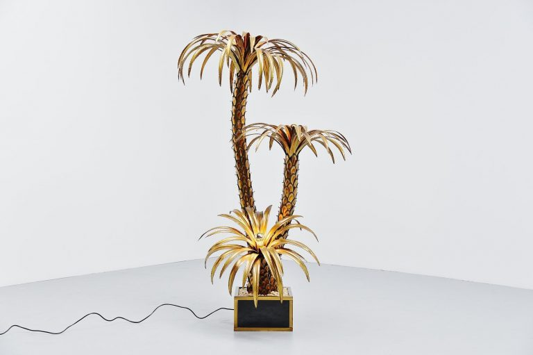 Maison Jansen large palm tree floor lamp France 1970