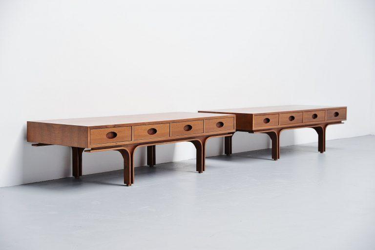 Gianfranco Frattini drawer tables Bernini Italy 1957