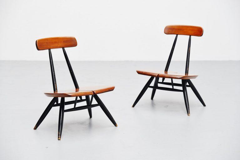 Ilmari Tapiovaara Pirkka lounge chairs pair Finland 1955
