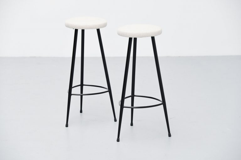 Italian pair of modernist bar stools Italy 1950