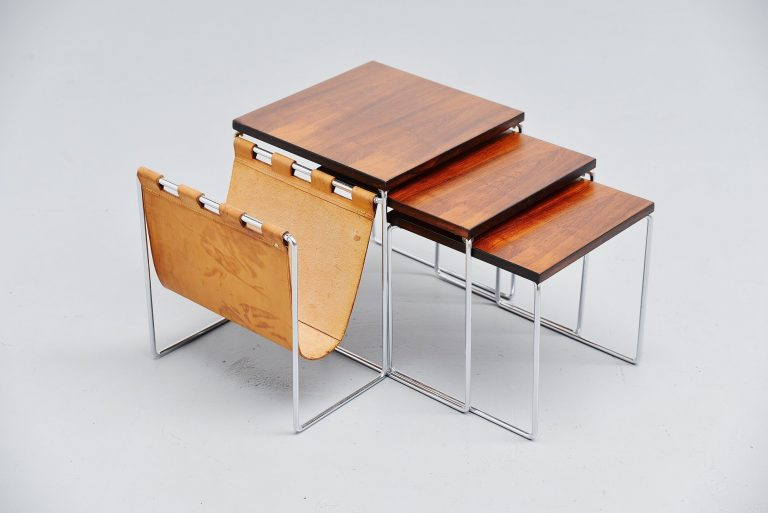 Modernist rosewood nesting table set Holland 1960