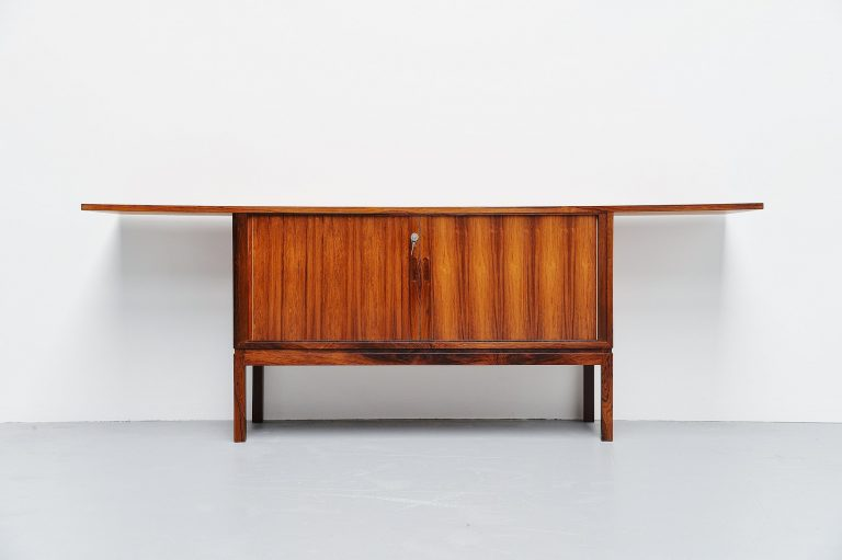 Danish rosewood drybar cabinet unusual shaped Denmark 1960