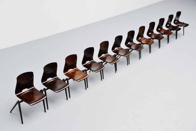 Pagholz industrial stacking chairs brown Germany 1970