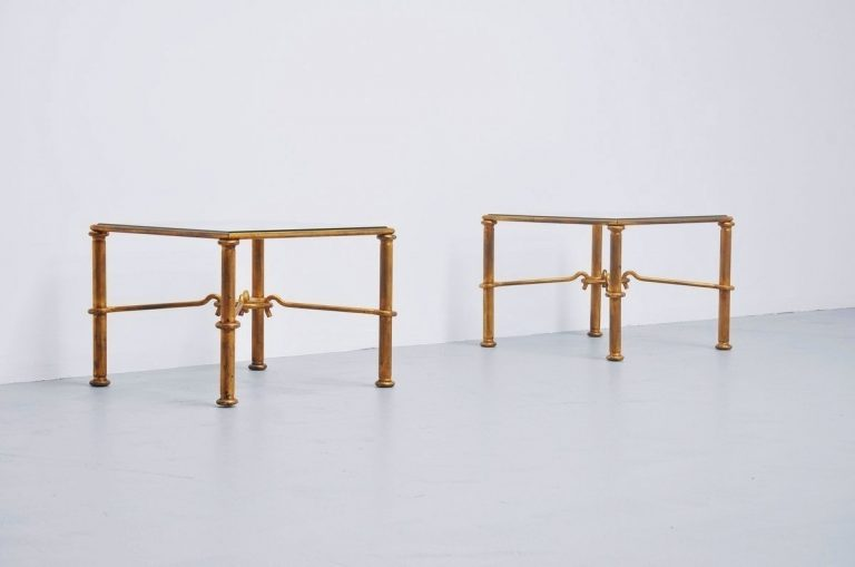 Rene Drouet style gilt iron side tables France 1960