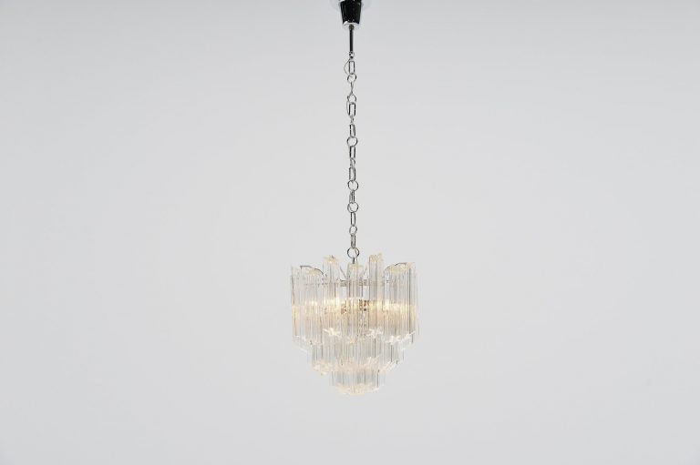 Venini chandelier in clear glass, Murano Italy 1960