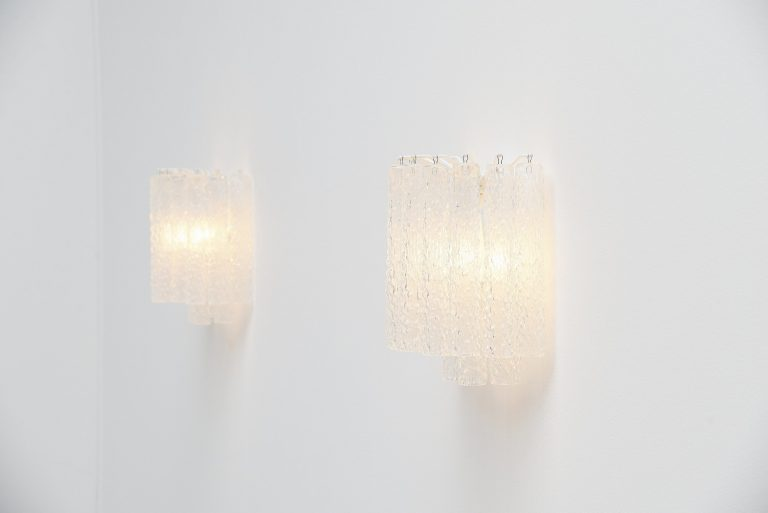 Paolo Venini tube glass sconces Murano Italy 1960