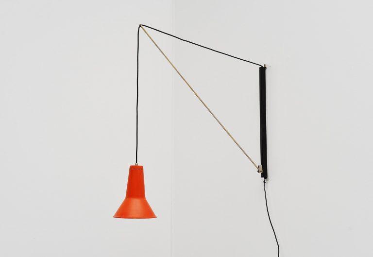 Willem Hagoort adjustable wall arc lamp Holland 1950