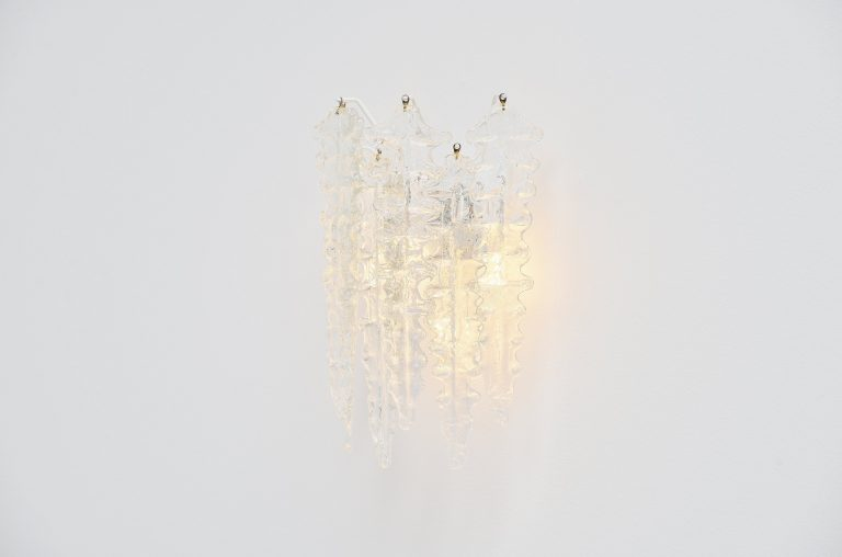 Paolo Venini clear glass wall lamp Italy 1960
