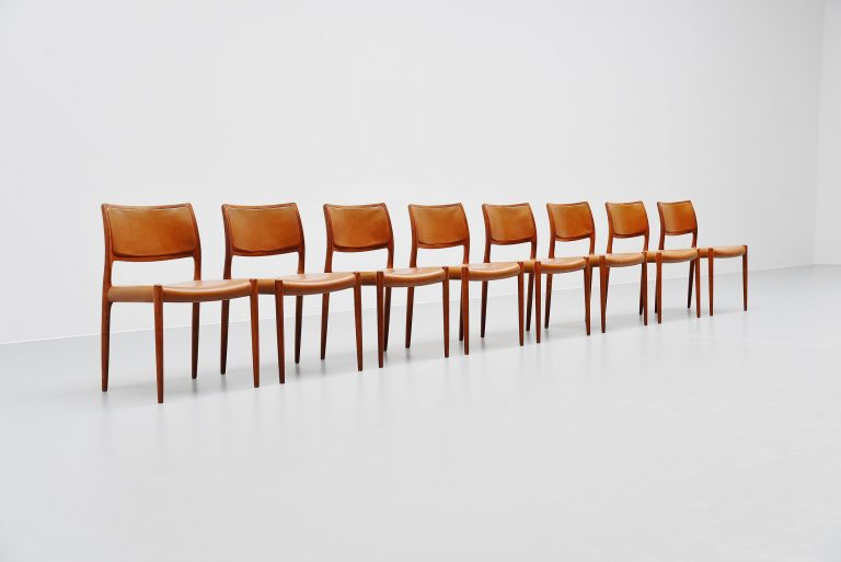 Niels Moller Model 80 teak chairs 8x Denmark 1966