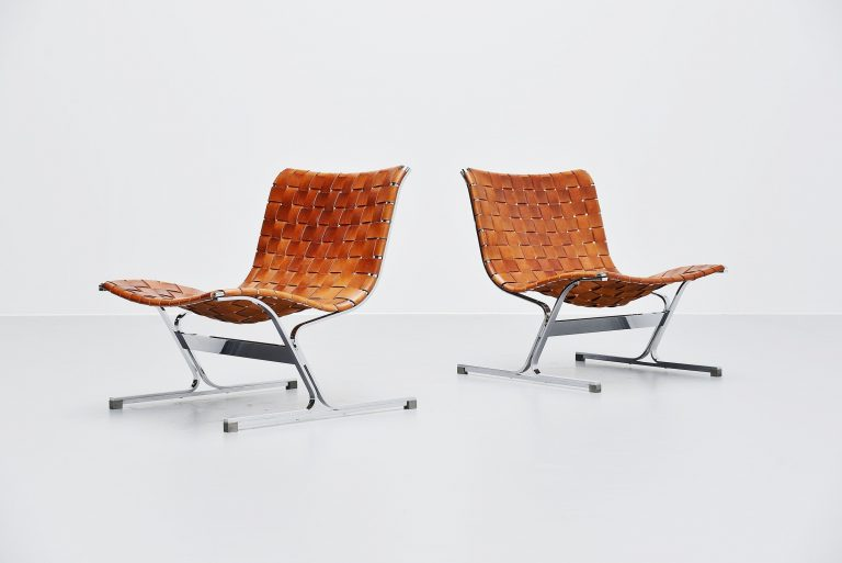 Ross Littel Luar lounge chair pair cognac ICF Padova Italy 1965