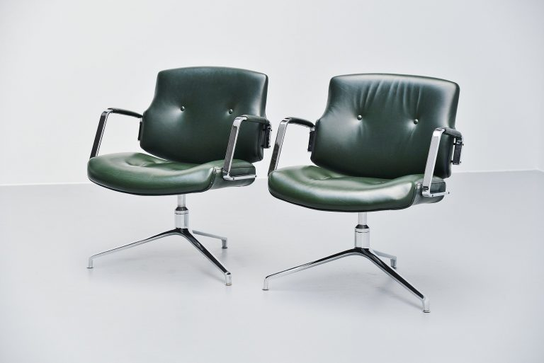 Preben Fabricius Jorgen Kastholm green FK84 office chairs 1968