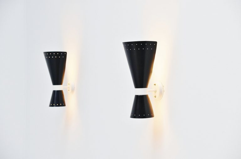 Louis Kalff diabolo sconces Philips Holland 1950