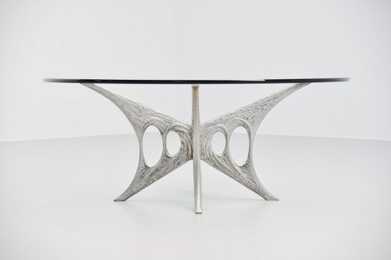 Willy Ceysens brutalist aluminum coffee table Belgium 1965