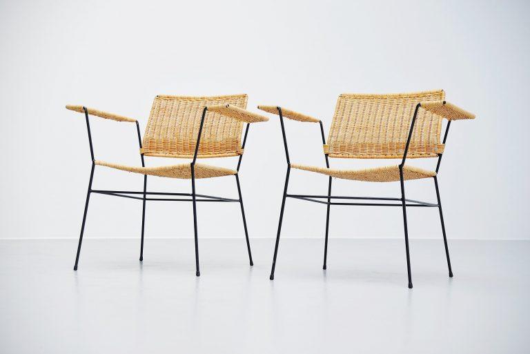 Herta Maria Witzemann cane armchairs pair Germany 1954