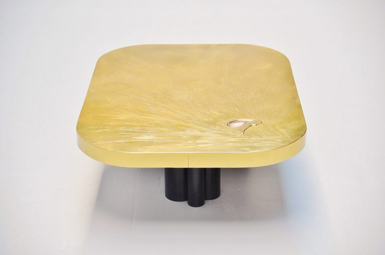Albert Verneuil brass agate coffee table Belgium 1970