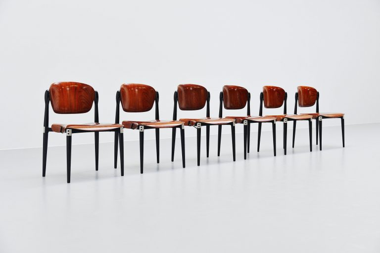 Eugenio Gerli chairs S83 set of 6 Tecno Italy 1962
