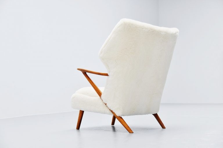 Kurt Olsen papa bear chair in alpaca wool Denmark 1955