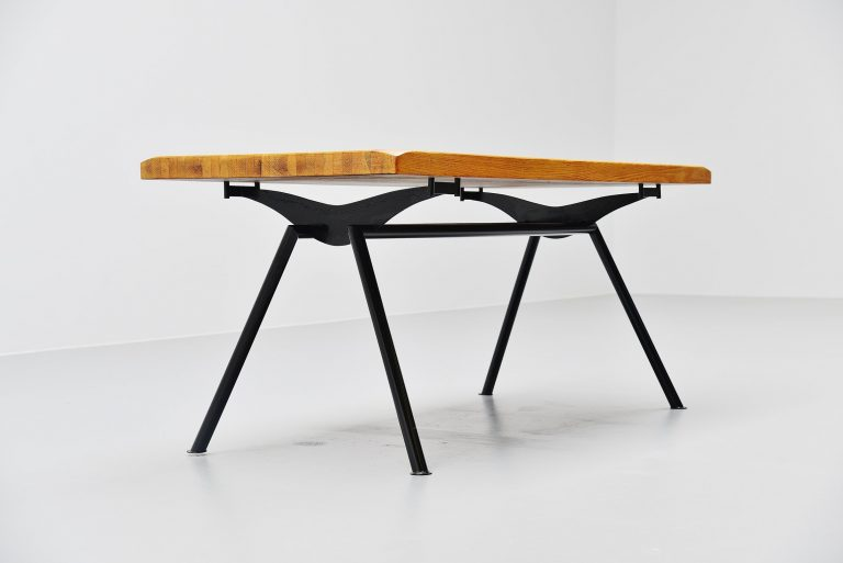 Jean Prouve style quality industrial dining table France 1960