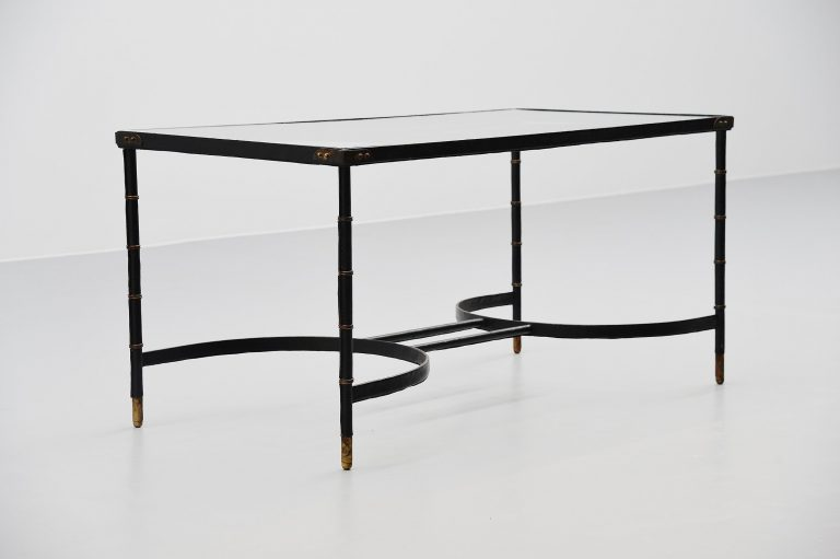 Jacques adnet leather covered dining table France 1950
