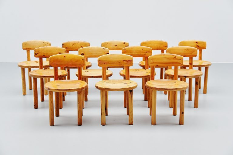 Rainer Daumiller pine chairs set of 12 Denmark 1970