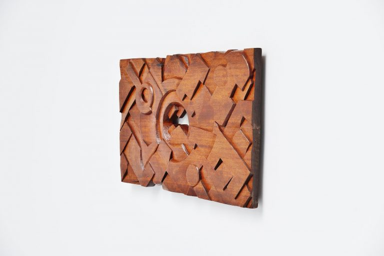 Jef van Leeuwen brutalist wall sculpture in solid teak 1982