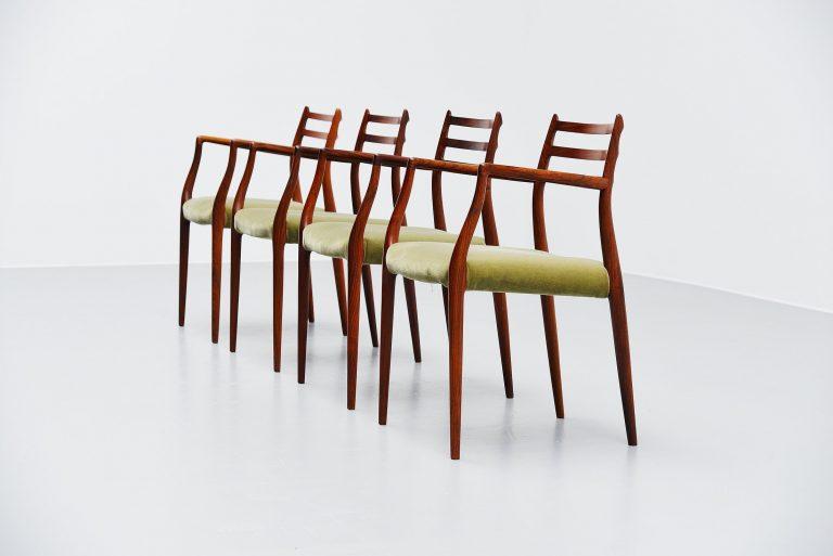 Niels Moller model 62 armchairs in rosewood Denmark 1962