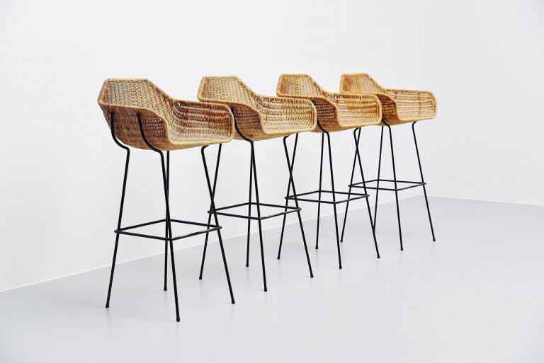 Carl Aubock style rattan bar stools Austria 1950