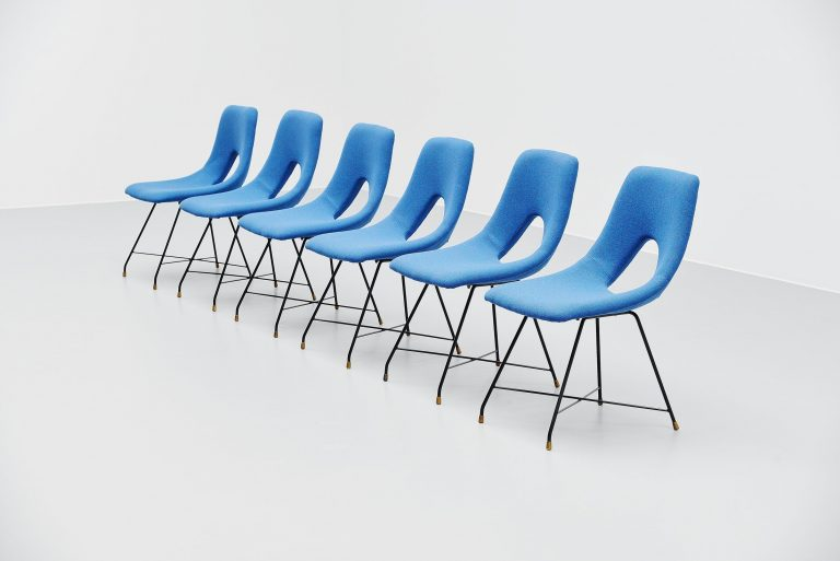 Augusto Bozzi cosmos dining chairs 6x Saporiti Italy 1954