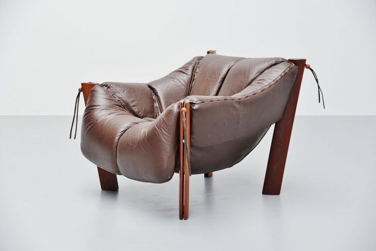 Percival Lafer lounge chair in Mahogany leather Brazil 1960